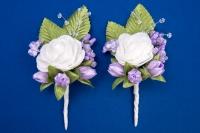 Фиолетовые бутоньерки для свидетелей,сватов №18