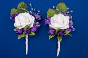Темно-фиолетовые бутоньерки для свидетелей,сватов №29