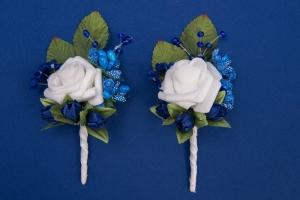 Синие бутоньерки для свидетелей,сватов №17