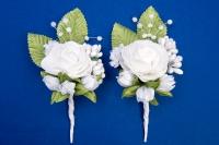 Белые бутоньерки для свидетелей,сватов №29