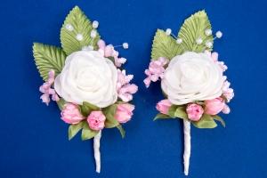 Розовые бутоньерки для свидетелей,сватов №4