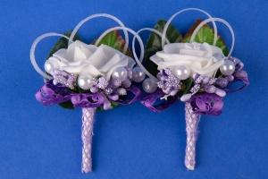 Фиолетовые свадебные бутоньерки №15
