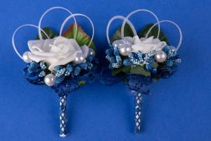 Свадебные бутоньерки в синем цвете №16