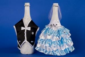 Голубое украшение для шампанского №20