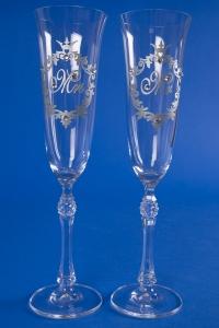 Свадебные бокалы Mr&Mrs (серебро) №5