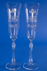 Свадебные бокалы Mr&Mrs (корона)