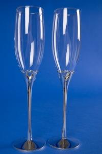 Свадебные бокалы на серебряной ножке №17