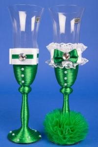 Изумрудные свадебные бокалы №7