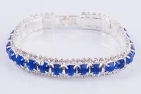 Свадебный браслет с синими камнями- прямой