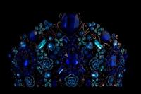 Высокая диадема с синими камнями №43