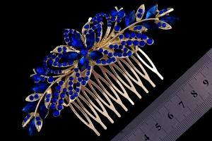 Гребень для волос с синими камнями №1