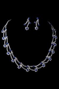 Синее колье с сережками №11