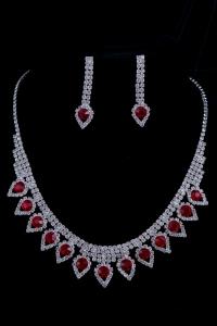 Свадебный набор с красными камнями №9