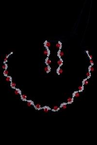 Набор бижутерии с красными камнями №7