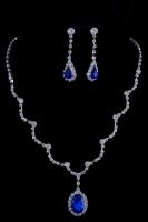 Свадебное колье с синими камнями №16