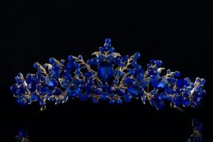 Диадема-обруч с синими камнями №12