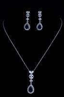 Колье и сережки с синим камнем №3