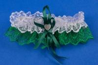 Зеленая свадебная подвязка для невесты №10