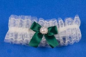 Подвязка на свадьбу в изумрудном цвете №27