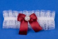 Бордовая подвязка на свадьбу №22