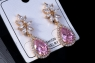 Розовые  сережки с цирконом №7