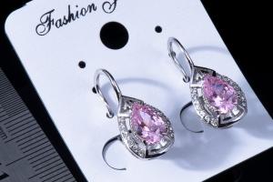 Серьги маленькие с розовым камнем №3